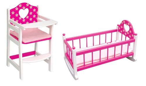 Wooden High Chair and Rocking Cradle Cot Bed Kids Playset Furniture Xmas Gift